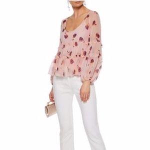 CINQ À SEPT  Pink Floral Blouse (size M)(D1)